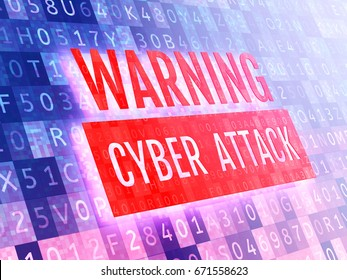 Digital security concept. Warning cyber attack sign on a virtual digital screen. 3D illustration.