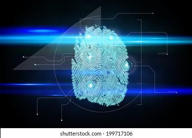 Digital security finger print scan in blue and black