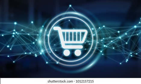 Digital shopping icons with connections on server background 3D rendering