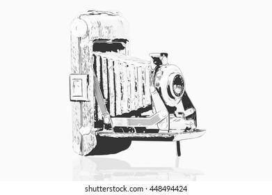 Digital Sketch of old vintage camera on white background