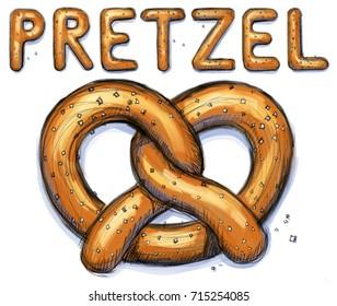 Digital sketch of a pretzel with the word pretzel above it.