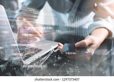 Digital software development, Mobile app design concept. Programmer, software developer coding mobile app on smartphone, laptop with computer code, binary, big data, modern technology interface
