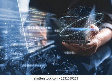 Digital software development, Mobile app design concept. Programmer, software developer coding mobile app on smart phone, laptop with computer code, binary, big data, network technology interface