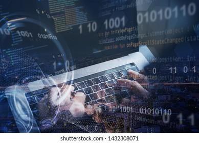 Digital software technology, Application development, internet network concept. Software developer, coding programmer input data on laptop computer and smart city, binary, big data, computer code