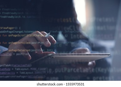 Digital software technology, application development, scrum agile methodology. Coding software developer, developing programmer working on tablet and laptop in office with computer code interface