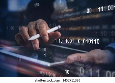Digital software technology, Mobile apps development, speed internet, wireless network concept. Software developer, coding programmer input data on digital tablet with binary, computer code interface