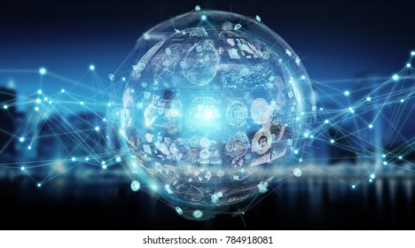 Digital sphere and holograms datas on city background 3D rendering