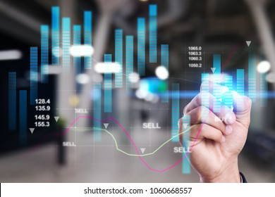Digital stock market financial indicator background. Growth. Investment and ROI. Business chart on virtual screen. Data analysis technology. Double exposure.