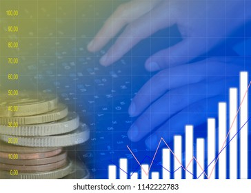 Digital stock market financial positive indicator background.Double exposure of growth graph futuristic economic currency chart investor data analysis technology money exchange concept
