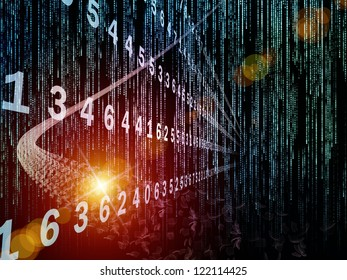 Digital Streams series. Backdrop of  numbers, lights and design elements to complement your design on the subject of digital communications, data transfers and virtual reality