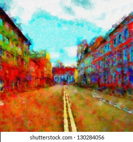 Digital structure of painting. Mottled street