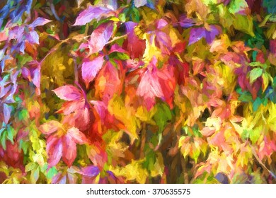 Digital structure of painting. Painted autumn leaves.