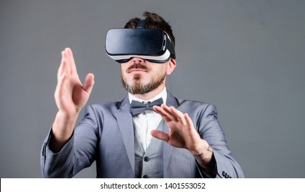 Digital surface interaction. Business man virtual reality. Innovation and technological advances. Business implement modern technology. Businessman explore virtual reality. Technology for business.