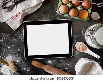 Digital tablet and baking ingredients