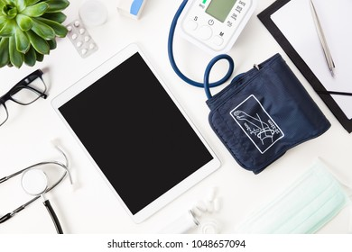 Digital Tablet With Blood Pressure Machine And Other Medical Ins