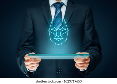 Digital tablet face detection concept. Facial recognition protection and security.