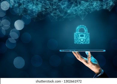 Digital tablet face detection and identification (ID) concept. Polygons padlock with face is metaphor of unlocking tablet via face identification.