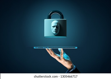 Digital tablet face detection and identification (ID) concept. Padlock with face is metaphor of unlocking tablet via face identification.