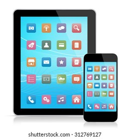 Digital tablet and mobile phone with icons