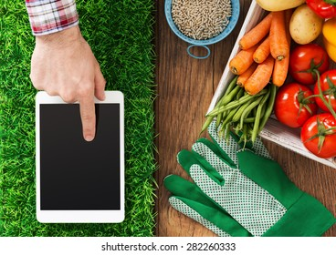 Digital tablet on grass, fresh vegetables and farmer's hand touching the touch screen display, gardening and farming app concept