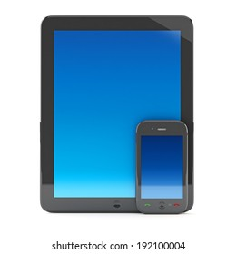 Digital tablet PC with mobile smartphone isolated on white