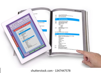 Digital tablet showing medical record technology application searching ICD code on screen and medical ICD code guide book on white bacjground.
