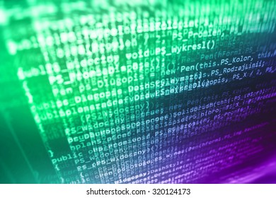 Digital technology modern background. Computer programming source code abstract screen of software developer. Shallow depth of field, selective focus effect. Code text written and created by myself