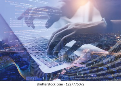 Digital technology, software development, IoT concept. Double exposure, man programmer, software developer managing project on laptop computer and smart city with binary, big data and computer code