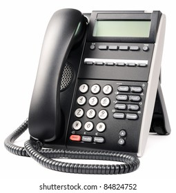 Digital telephone set with LCD over white background
