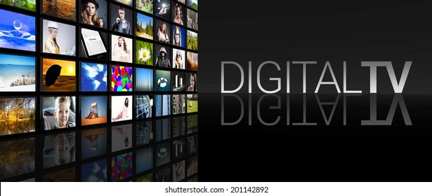 Digital television screens on black background
