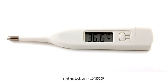 Digital thermometer close-up isolated over a white background