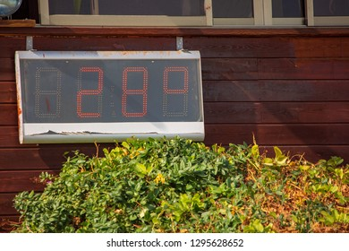 Digital thermometer on beach of Dead sea at winter