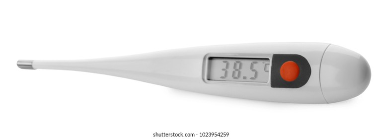 Digital thermometer on white background