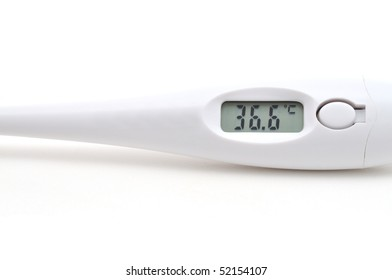 The digital thermometer, showing normal temperature of 36.6 degrees on Celsius.