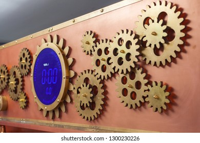 Digital timer on the copper panel