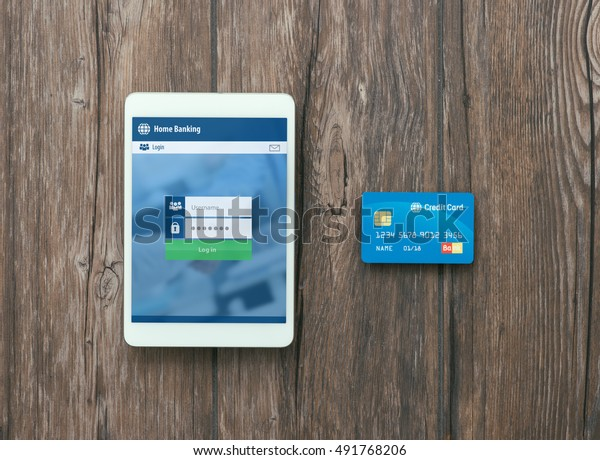 Digital Touch Screen Tablet Credit Card Stock Photo (Edit