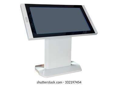 Digital touchscreen terminal, atm machine isolated on white