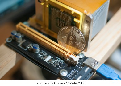 Digital transactions with bitcoin cryptocurrency. Exchange, mining, storing and traiding on stock-market via blockchain