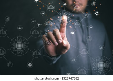 Digital transformation change management, internet of things. new technology bigdata and business process strategy, automate operation, customer service management, cloud computing, smart industry