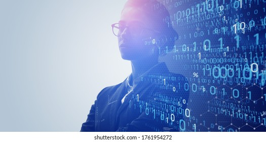 Digital transformation concept. Binary code. System engineer. Programmer.