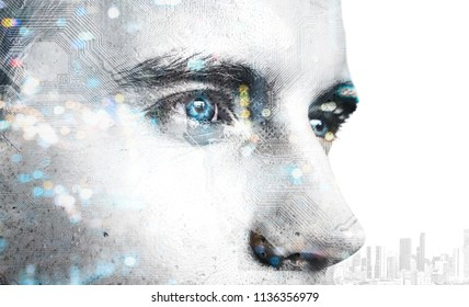Digital transformation disruption every industry technology , artificial intelligence concept. Double exposure of male face customer and circuit board.