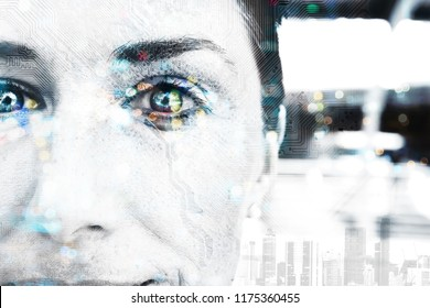 Digital transformation disruption every industry technology , artificial intelligence biometric retina eye scan for security technology concept. Double exposure of female face and circuit board.