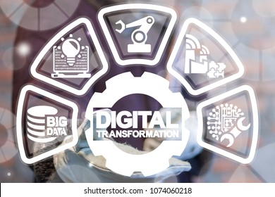 Digital Transformation Industry 4.0. Modern Smart Manufacturing concept. Engineer offers digital transformation gear icon on a virtual interface.