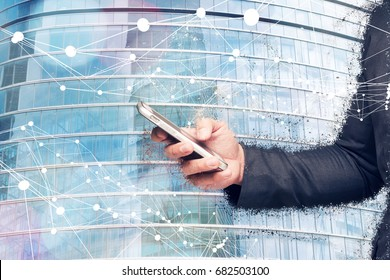 Digital transformation of internet of things technology disruption , big data ,online shopping concept. Neural networks connect atoms , business man using smart phone and building glass. 3d rendering