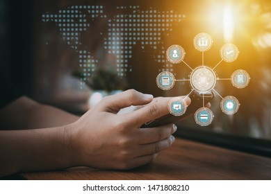 Digital transparency smart phone concept, close up hand of people use cellphone with social media and online transaction convenience icon