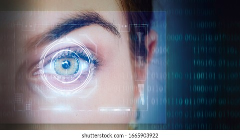 digital trends concept with eye  biometric scan