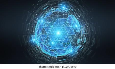 Digital triangle exploding sphere hologram on blue grey background 3D rendering