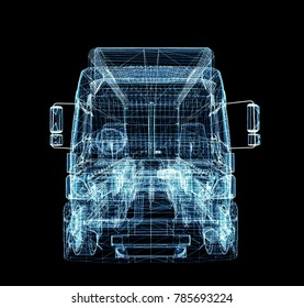 Digital Truck. The concept of digital technology in the delivery industry. 3D Illustration
