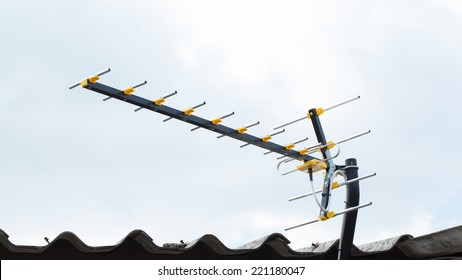 Digital TV Antenna on the roof, sunny day.