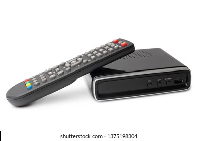 Digital TV tuner with remote control on white background